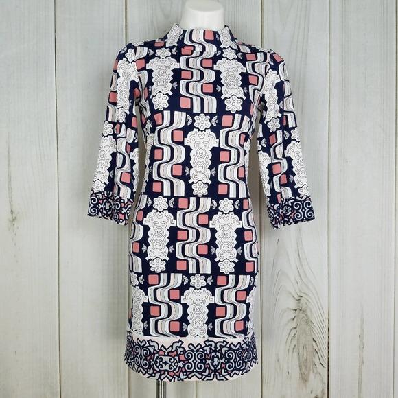 J. McLaughlin Geometric Print Turtleneck Dress